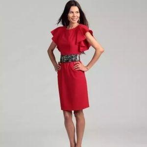 Calvin Klein | red flutter sleeve sheath dress